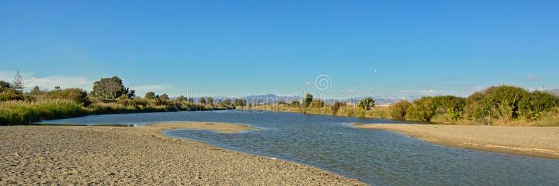 在Guadalhorce河出海口的全景 库存照片