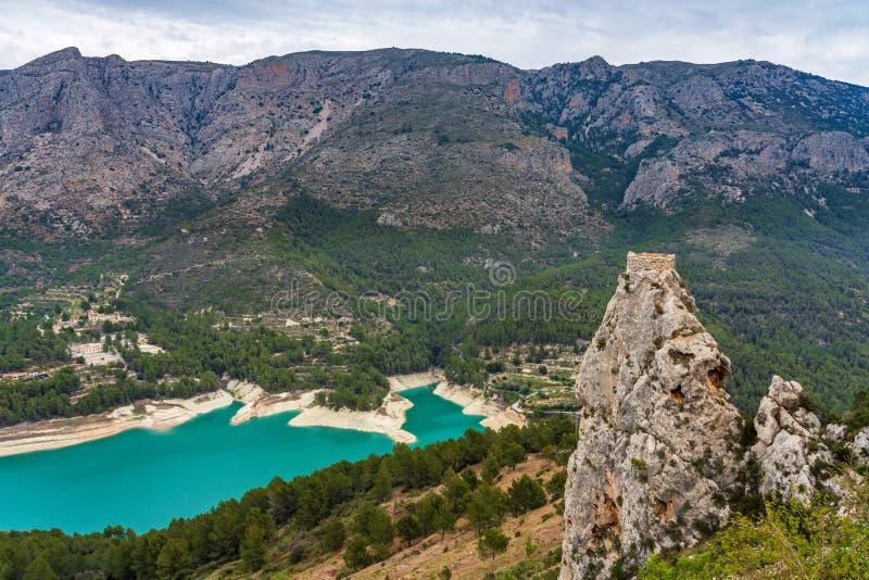 在Guadelest附近,巴伦西亚水库的风景在西班牙 库存图片
