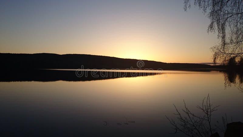 在gunnarskog, Arvika,瑞典的日落 免版税库存图片
