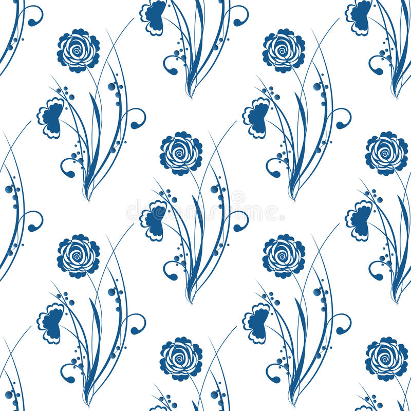 在gzhel样式的蓝色花卉无缝的样式 皇族释放例证