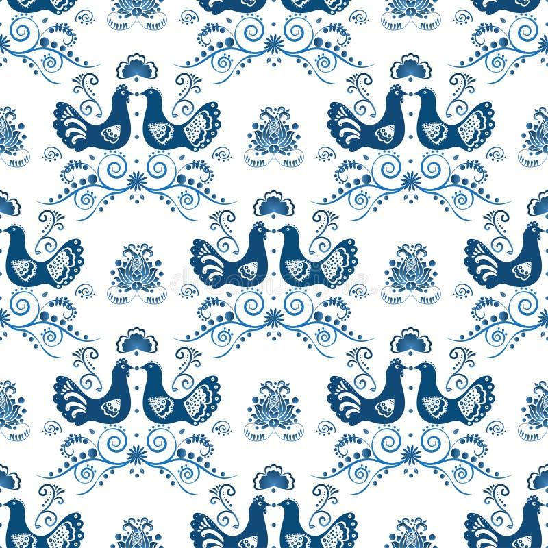 在gzhel样式的蓝色花卉无缝的样式 向量例证