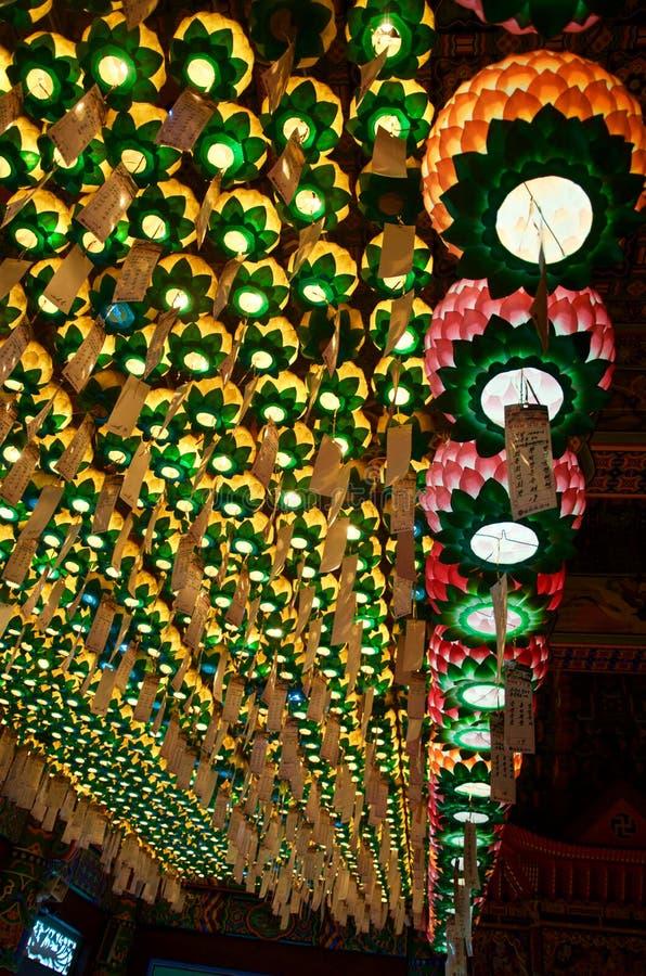 在Haedong Yonggungsa寺庙,釜山的灯笼 免版税库存照片