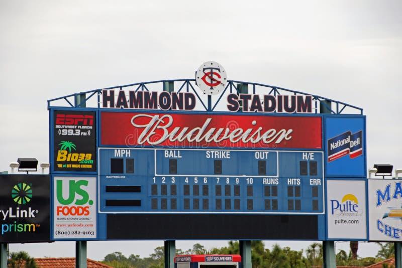 在Hammond体育场的记分牌 库存照片