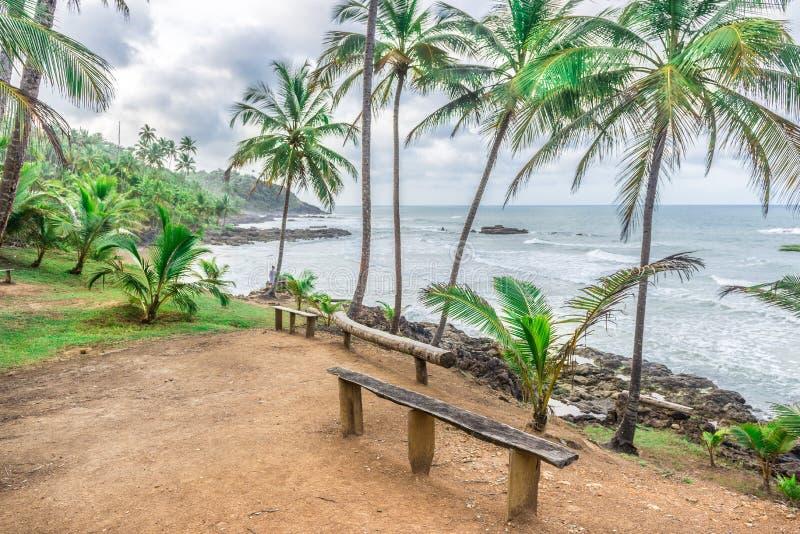 在Havaizinho海滩Itacare的休息区 免版税库存照片