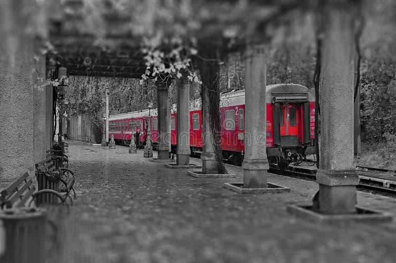 在Herculane浴的火车站-罗马尼亚 免版税库存照片