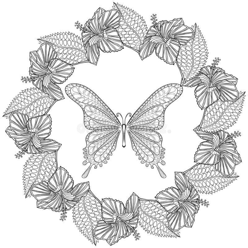 在Hibiskus花花圈的手拉的zentangle蝴蝶为 向量例证