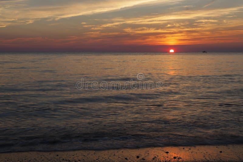 在Higbee海滩的日落 免版税库存照片