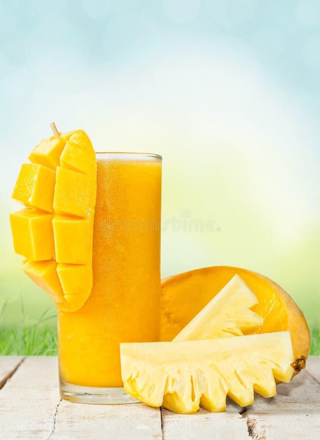 在highball的芒果菠萝饮料与成份在夏天b 图库摄影