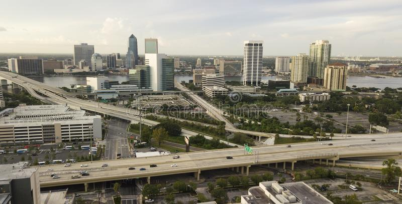 在Higwhays街市市杰克逊维尔佛罗里达的鸟瞰图 库存图片