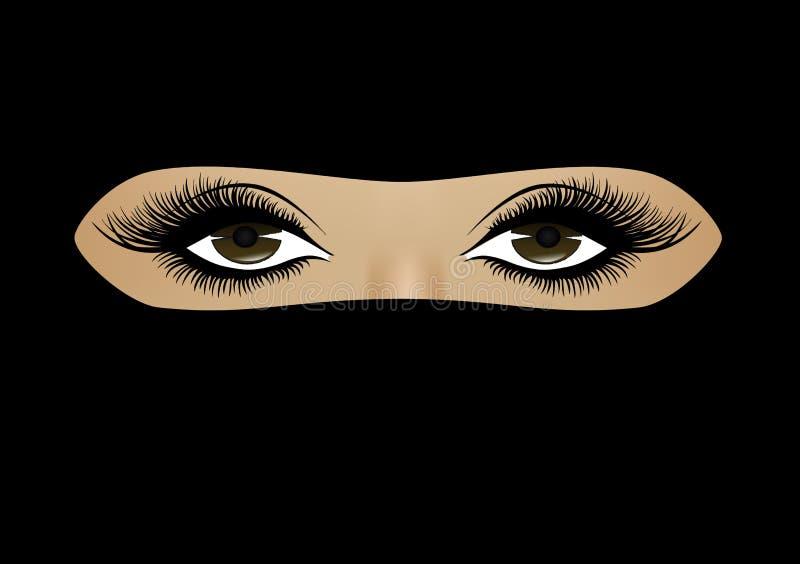 在hijab特写镜头在一个充分的框架,水平,传染媒介的回教妇女面孔 向量例证