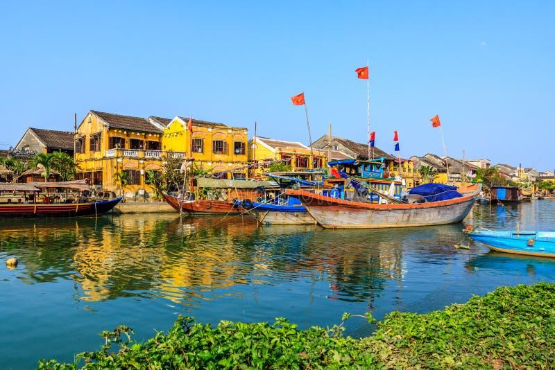在Hoai河的小船 库存图片