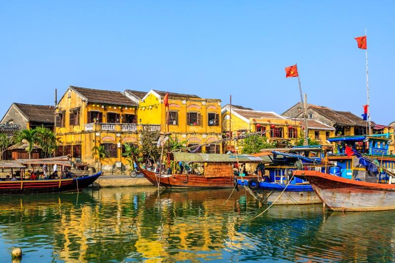 在Hoai河的小船 免版税库存图片