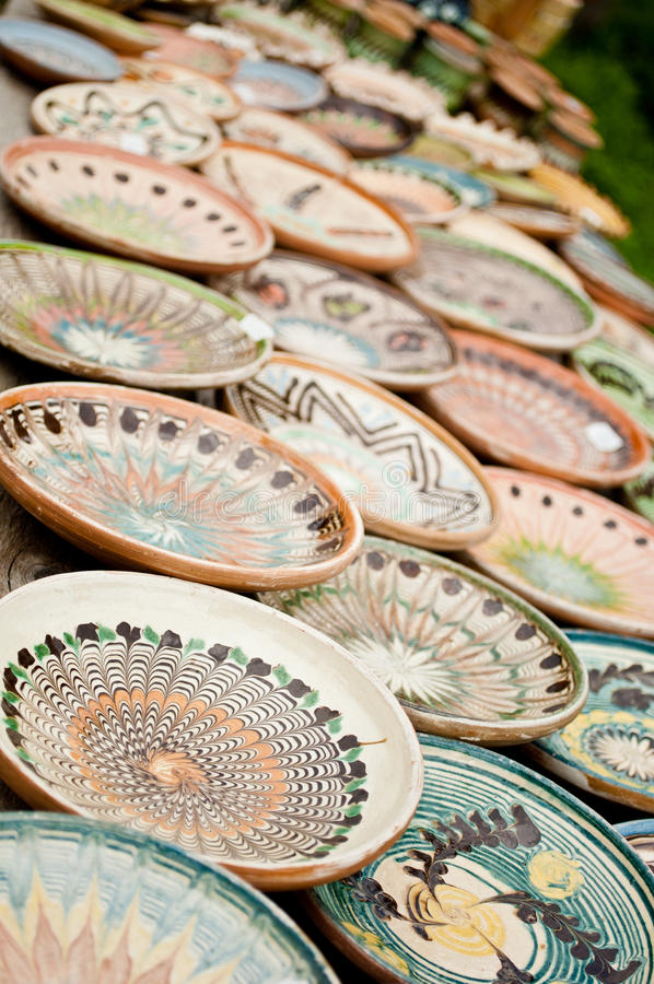 在Horezu的陶瓷瓦器 免版税图库摄影