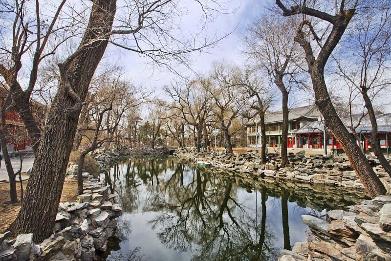 在Houhal湖,北京,中国附近的土气公园 库存照片