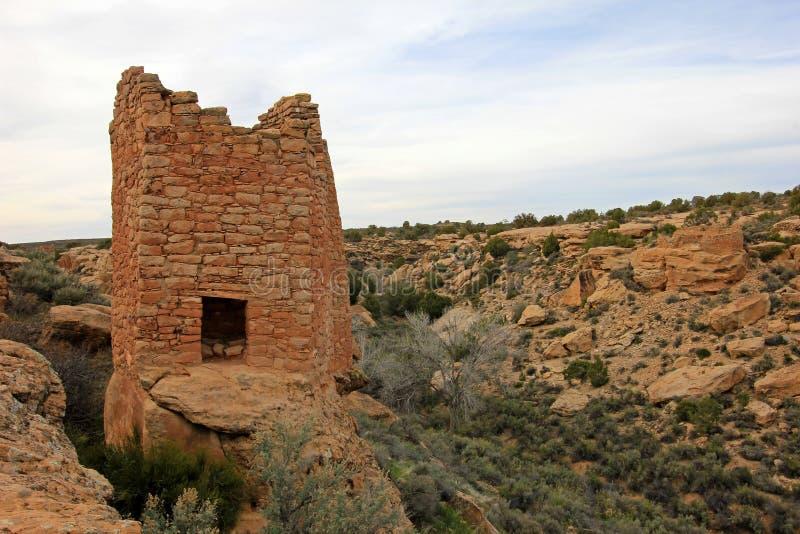 在Hovenweep国家历史文物,科罗拉多的废墟 库存照片