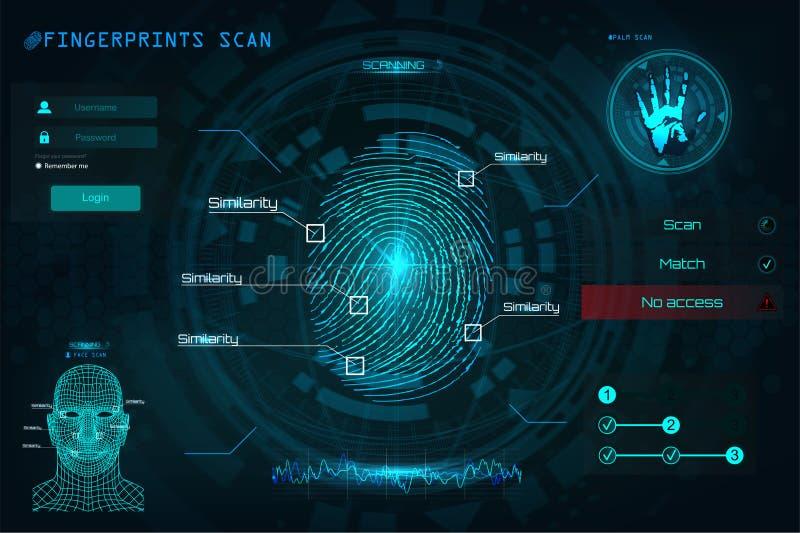 在HUD样式的指纹扫描的鉴定系统 向量例证