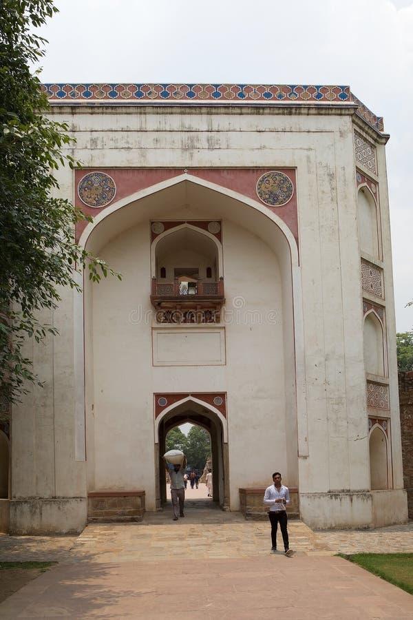 在Humayun complez的Bu哈利马门户,德里,印度 库存图片