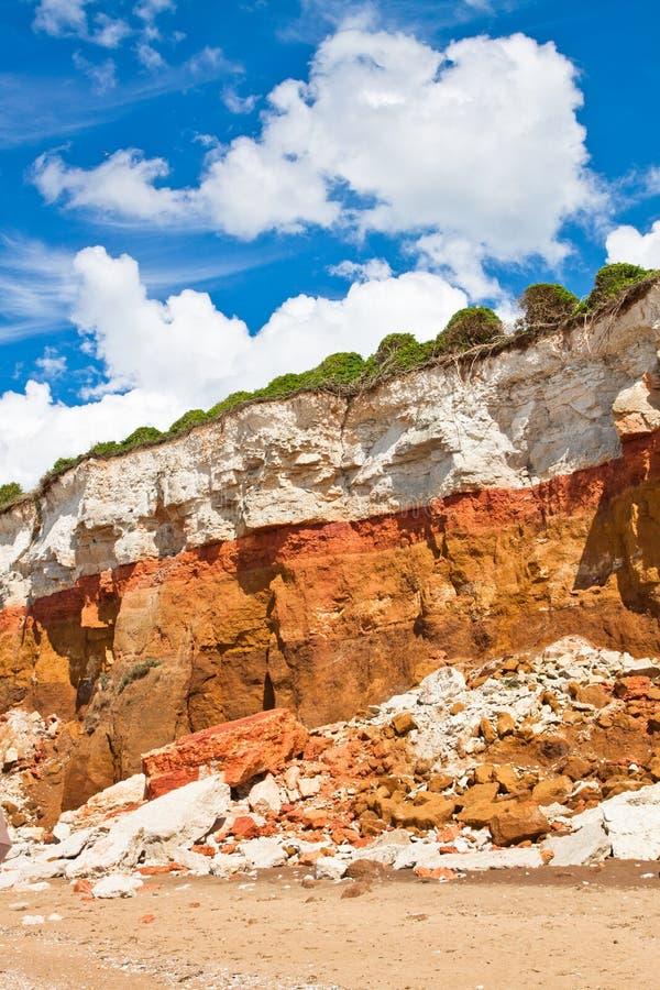 在Hunstanton垂直图象的层状峭壁 免版税库存图片