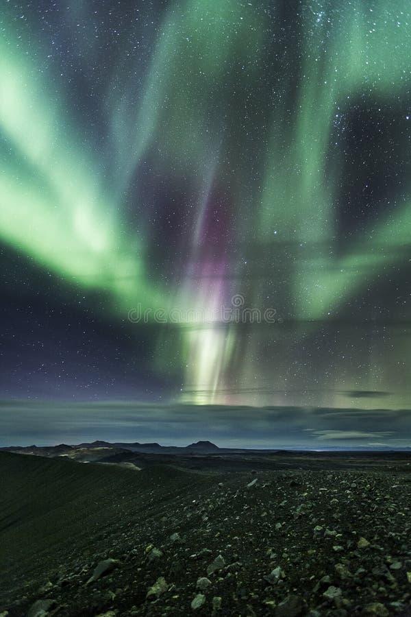 在hverfjall的北极光 免版税图库摄影