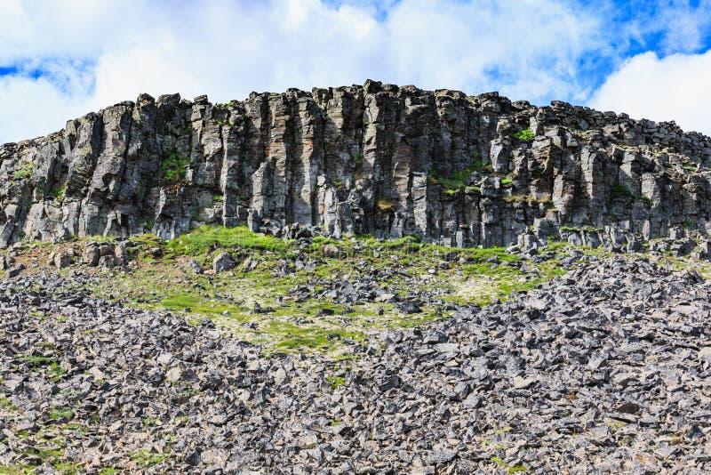 在Hvitserkur壮观的岩石附近的玄武岩石头在海 图库摄影