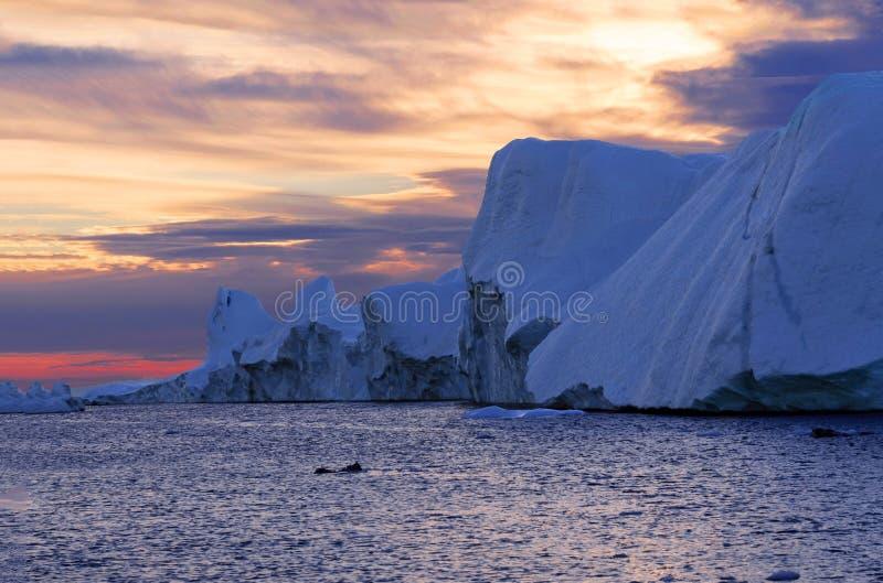 在Icefjord的日落,格陵兰 免版税库存图片
