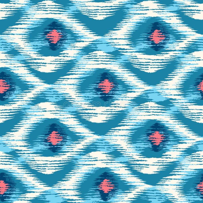 在ikat样式的无缝的样式 皇族释放例证