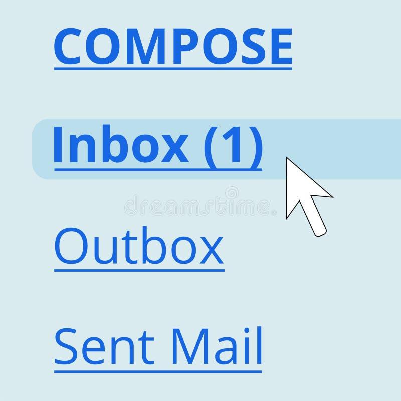 在inbox的电子邮件 库存例证