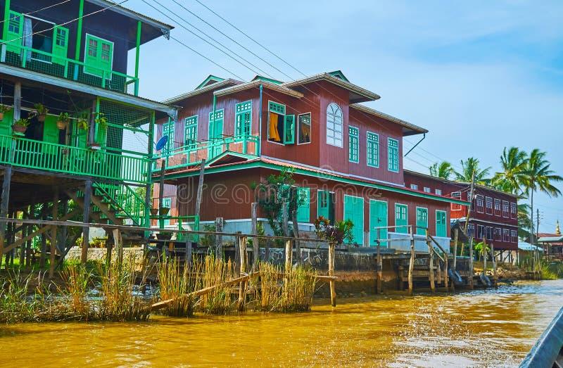 在Inle湖,缅甸的木村庄 库存图片