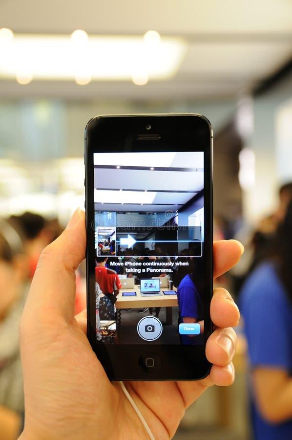 在iPhone 5的全景功能 免版税库存照片