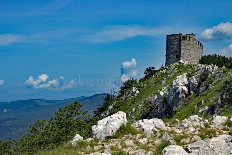 在Istria的Vojak山顶 库存图片