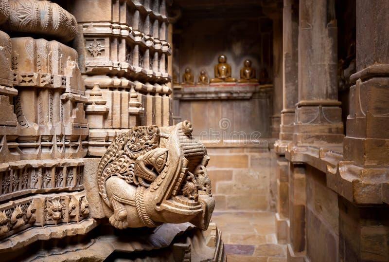 在Jaisalmer堡垒的耆那教的寺庙 免版税图库摄影
