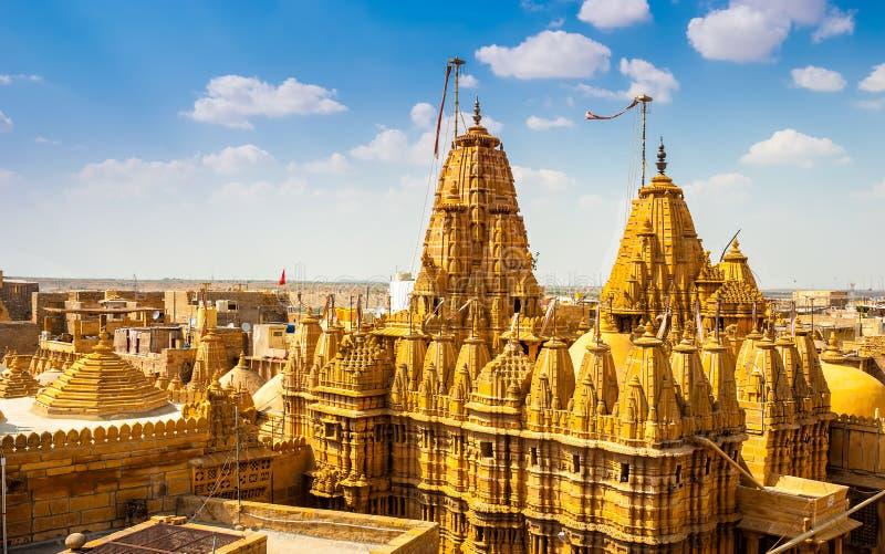 在Jaisalmer堡垒,拉贾斯坦,印度的寺庙 库存图片