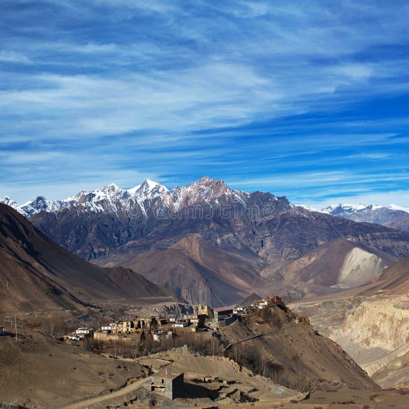 在Jarkot村庄的看法Muktinath谷的,尼泊尔 库存图片