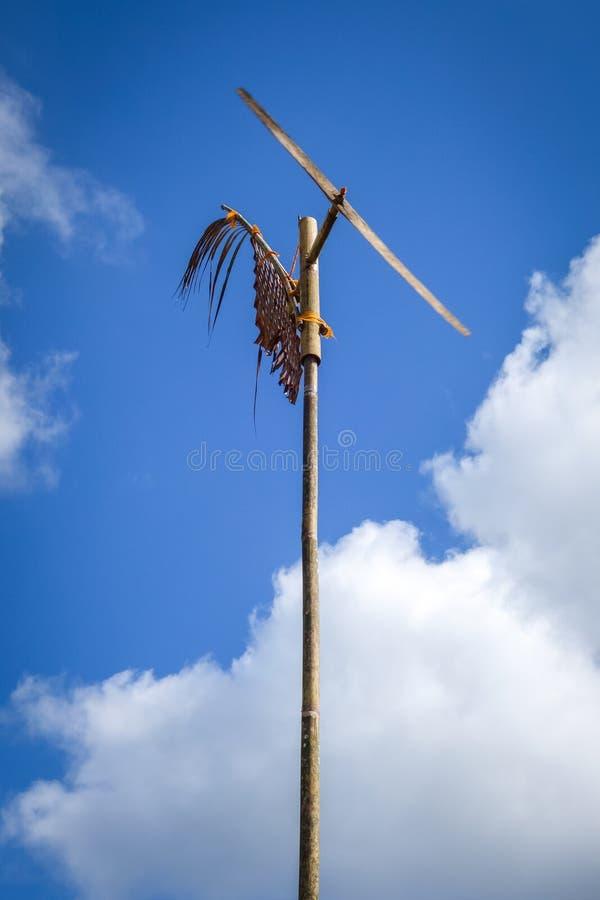 在Jatiluwih稻田,巴厘岛,印度尼西亚的风车 免版税库存照片