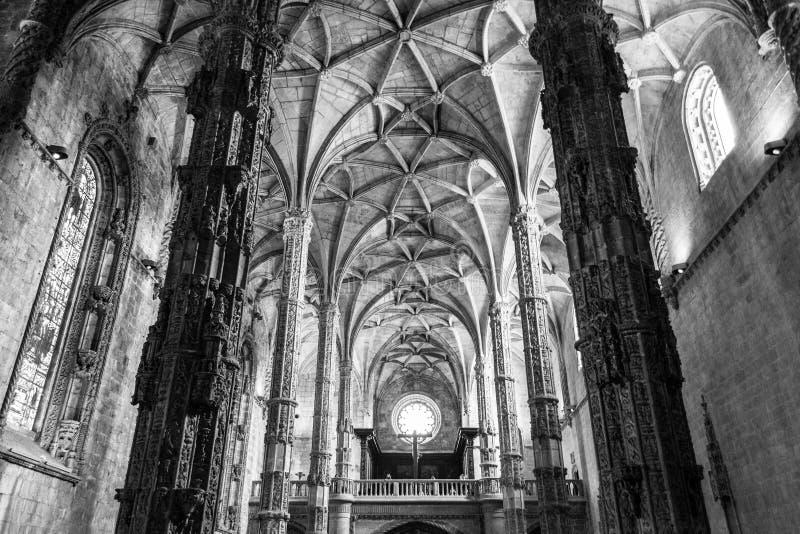 在Jeronimos修道院(里斯本,葡萄牙)里面 免版税库存图片
