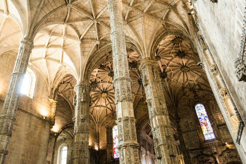 在Jeronimos修道院(里斯本,葡萄牙)里面 库存图片
