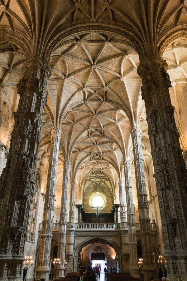 在Jeronimos修道院(里斯本,葡萄牙)里面 库存照片
