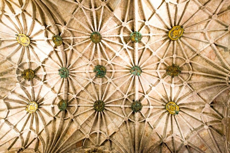 在Jeronimos修道院& x28里面; 里斯本, Portugal& x29; 图库摄影