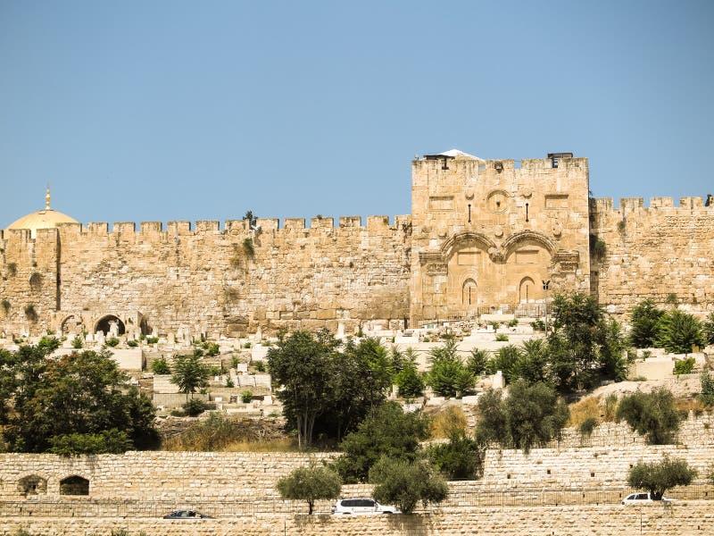 在Jerusale的东边圣殿山的金门  图库摄影