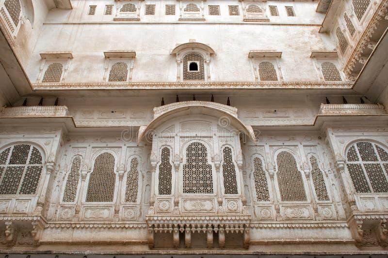 在Junagarh堡垒的门面在比卡内尔,印度 免版税库存照片
