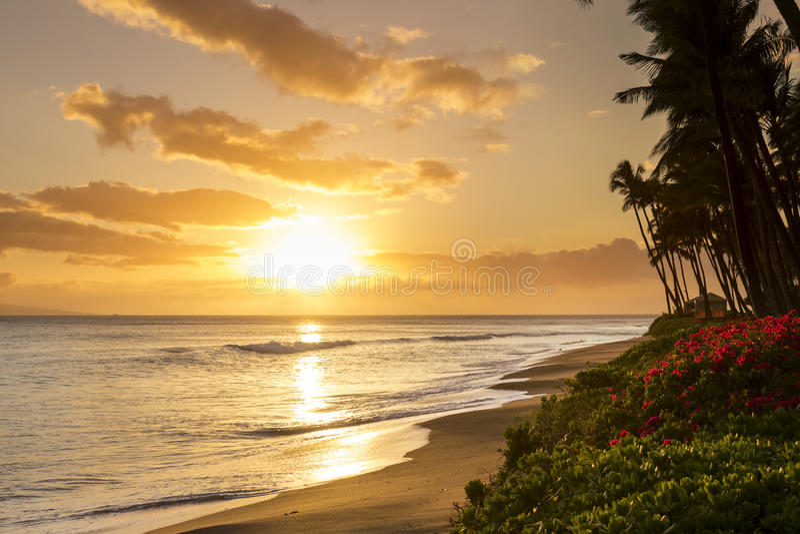 在Kaanapali海滩的美好的热带日落在毛伊夏威夷 免版税库存照片
