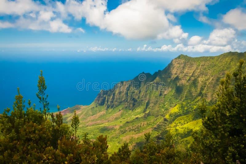 在Kalalau的Na梵语海岸线俯视,考艾岛,夏威夷 库存图片