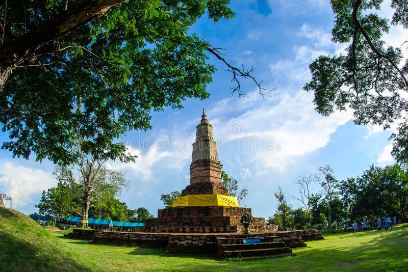 在Kamalasai Kalasin泰国,泰国Bhudda的PhatadYaku寺庙 免版税图库摄影