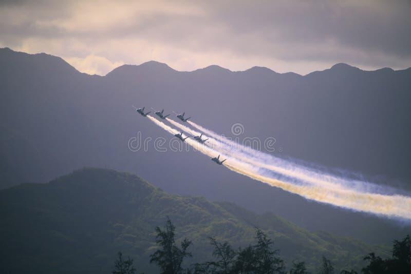 在Kaneohe Airshow的蓝色天使 库存照片