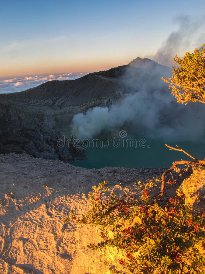 在Kawah伊真火山顶部的Surise 库存图片
