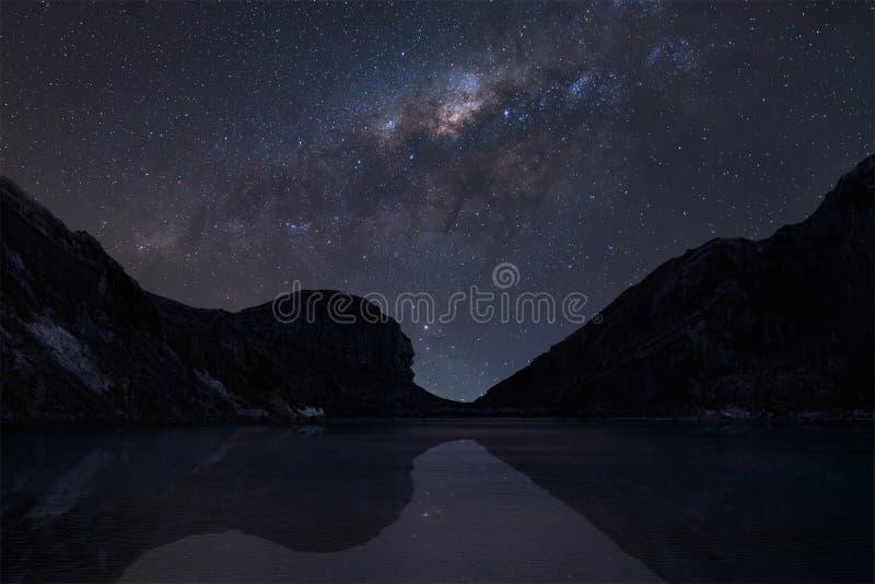 在Kawah的银河ijen火山口湖 库存图片