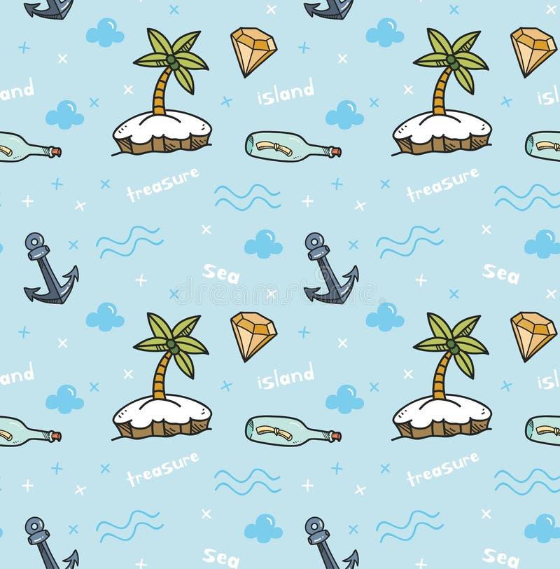 在kawaii样式传染媒介的珍宝海岛无缝的背景 库存例证