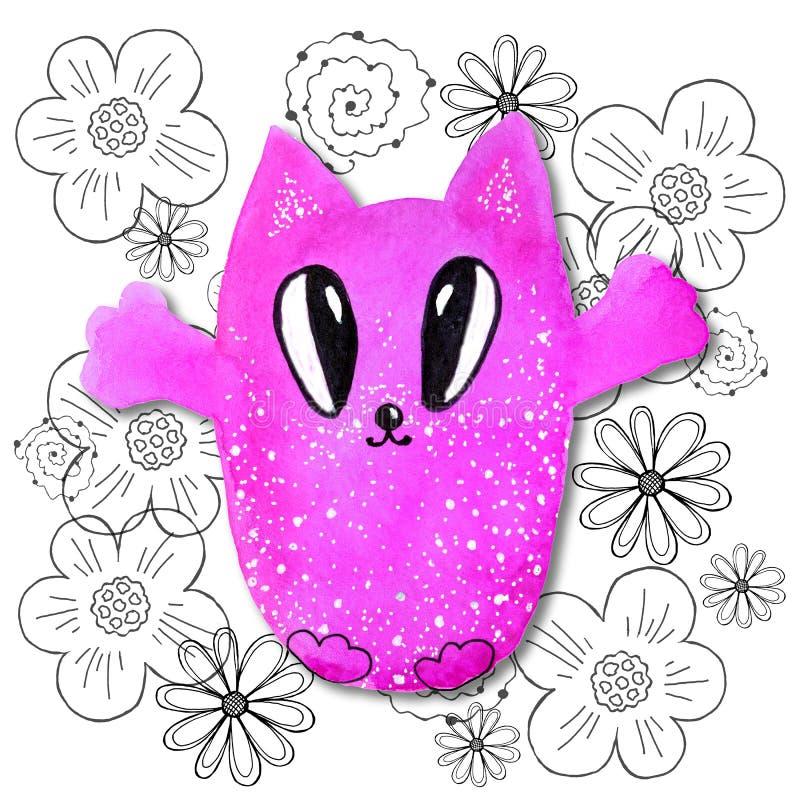 在kawaii样式的卡通人物与一只猫的图象在抽象背景的 设计墙纸,印刷品,盖子,着色, 向量例证