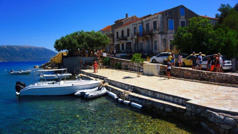 在Kefalonia海岛上的Fiskardo在希腊 库存图片