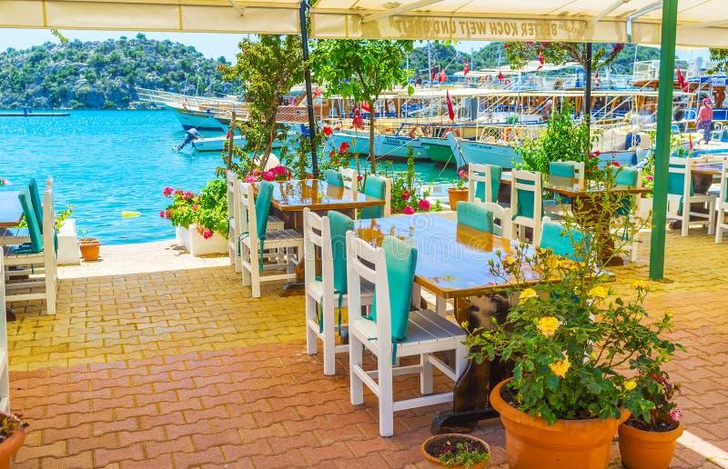 在Kekova的室外咖啡馆支持, Ucagiz,土耳其 图库摄影